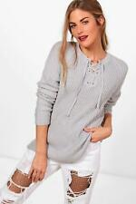 NEW Boohoo Womens Erin Ribbed Lace Up Front Jumper in