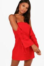 NEW Boohoo Womens Akira Off the Shoulder Tie Sleeve Shift Dress in Polyester