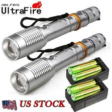 Tactical Police 15000Lumen T6 LED 18650 Zoomable Flashlight Aluminum Torch USA