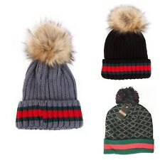 Mens/Women Pom Pom Knitted Beanie Bobble Hat Red & Green Stripe Hat Winter Hats
