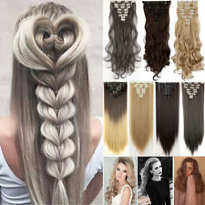 Full Head 8 piece Clip in on Hair Extensions Real thick curly wavy for human ncw