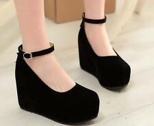 Womens High Heel Wedge Platform Buckle Faux Suede Mary Jane Lolita Pumps Shoes