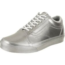 Vans UA Old Skool Silver Metallic Textile Trainers Shoes