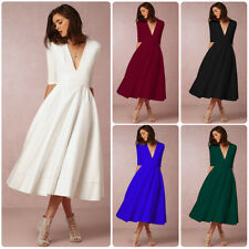 Women Sexy Deep V-Neck Evening Party Cocktail Long Flared Swing Dress Ball Gown
