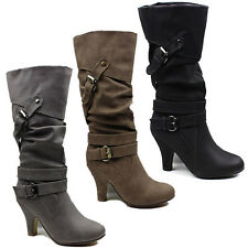 WOMENS LADIES CASUAL SLOUCH FASHION MID CALF HIGH HEEL BOOTS SHOES SIZE 3-8