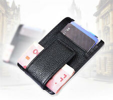 Leather Money Clip ID Credit Card Case Holder Slim Wallet Front Pocket