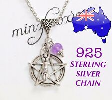 Fertility Goddess Pentagram Wicca Pagan 925 Sterling Chain Pendant Necklace Gift