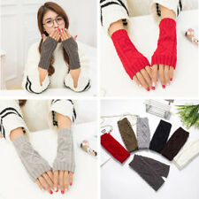 Women Ladies Winter Warmer Arm Mitten Knit Gloves Long Fingerless Casual Gloves