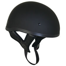 DOT Flat Black Motorcycle Skull Cap Half Helmet with No Outlaw Graphic Logo