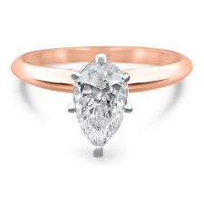 14k Rose Gold Pear  moissanite solitaire engagement ring 6 prong 1 Carat