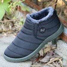 New Womens fur lined Anti-Slip Warm snow Slip On ankle Boots Flat Casual Shoes