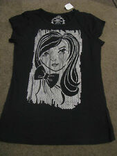 BNWT GIRLS COTTON BLACK  FUNKY GIRL TOP SIZE  14  TSHIRT SHIMMERY SILVER