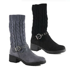 WOMENS LADIES WARM MID CALF KNITTED SOCKS LOW HEEL BUCKLE CASUAL BOOTS SIZE 3-8