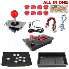 DIY PC Arcade Joystick Kits 2Pin Cable Acrylic Panel Case USB Button Unassembled