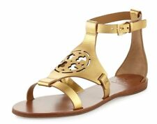 NIB Tory Burch Zoey PERFORATED LOGO Leather Flats GOLD