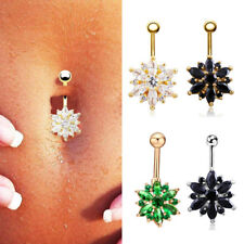 1PC Flower Crystal Rhinestone Body Piercing  Belly Button Navel Ring Jewelry