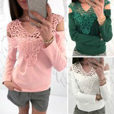 UK Womens Casual Lace Hollow Out T Shirt Long Sleeve Backless Sweet Blouse Tops