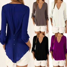 UK Womens Casual Deep V Chiffon Sexy Shirt Blouse Loose Tops size 10 Color S 5XL