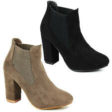WOMENS LADIES CHUNKY BLOCK HEEL COWBOY CHELSEA STYLE ANKLE BOOTS SHOES SIZE 3-8