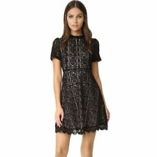 Women Floral Lace Pattern Short Sleeves A-line Above Knee Mini Dress