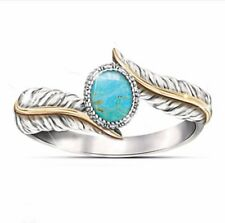 Trendy Women Jewelry 925 Silver Ring Turquoise Gemstone Wedding Size 6-10