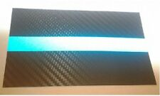 """(2) 3""""x5"""" Tactical Carbon Fiber Reflective Thin Blue Line Police Sticker Decal"""