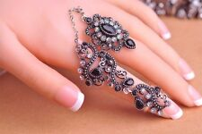 Vintage Styled Turkish Two Fingers Ring Crystals Rhinestones Antique Gold/Silver