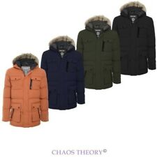 Brave Soul Mens Quilted Parka Jacket Fur Hooded Winter Puffer Coat Size S-XL