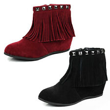 WOMENS LADIES HIDDEN LOW WEDGE HEEL FRINGE TASSEL ANKLE BOOTS SHOES SIZE 3-8