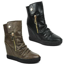 WOMENS LADIES HIDDEN WEDGE SLOUCH HI TOP SNEAKERS ANKLE BOOTS SHOES SIZE 3-8