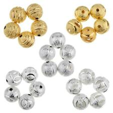 50pcs Copper Round Spacer Loose Bead 10mm Frosted Ball Craft Making Findings