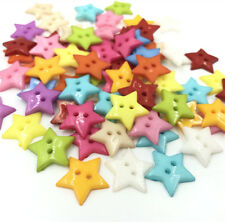 Resin Buttons Mixed Colors Sewing Scrapbooking 2 Holes Star Button DIY 19mm