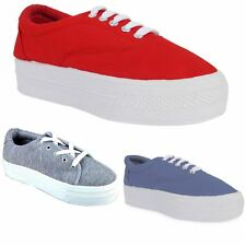 NEW WOMENS CANVAS CREEPERS LACE UP LADIES WEDGE PLATFORM TRAINERS PUMPS SIZE 3-8