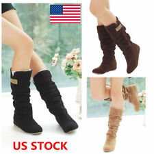 US Women Suede Flat Lace Cuff Mid Calf Boots Slouch Hidden Wedge  Boots Shoes