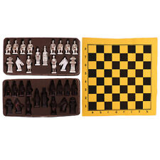 Chess Set Imitation Leather Chess Board Resin Chess Pieces Craft Collectible
