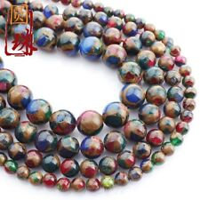 1Strands Gold Colored Stone Ball Loose Beads (6.8.10.12mm) 15.5inch B7295