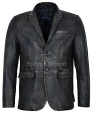 Mens 3450 Millano 2 button Classic Blazer Black Rub Off Real Leather Jacket Coat