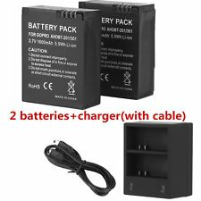 2x AHDBT 301/201 Replacement Battery For GoPro HD Hero3 AC/DC Charger 1600 Mah M