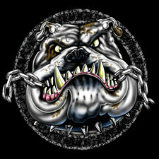 Chewing Chain Angry Bulldog Puppy Dog Motorcycle Biker T-Shirt Tee