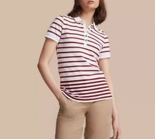 "NWT $250 Womens Burberry ""Ausa"" Striped Stretch Cotton Piqué Polo Shirt"