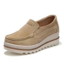 Autumn women flats shoes thick soled platform shoes leather suede casual shoes