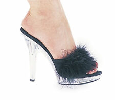 "Ellie Shoes 5"" Heel Maribou Slipper Sasha Baby Pink/Clear,Black,Red,White"