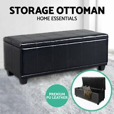 Blanket Box Storage Ottoman PU Leather Fabric Chest Toy Clothes Foot Stool Bed T