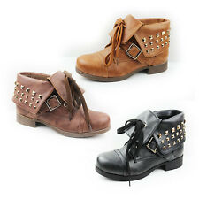 WOMENS LADIES FOLD OVER STUDDED CUFF CASUAL LACE UP ANKLE BOOTS SHOES SIZE 3-8