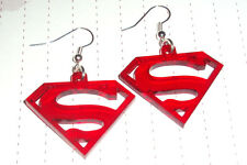 80s Super Hero Superman Supergirl Logo Charm Earrings Kitsch Kawaii