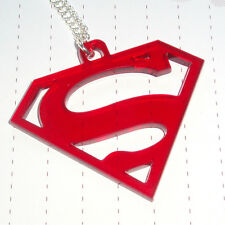 80s Retro Super Hero Superman Supergirl Logo Charm Necklace Kitsch Kawaii