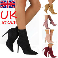 UK Womens Suede Stiletto High Heels Zipper Ladies Short Ankle Boots Shoes Size