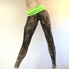 Camo Camouflage Hunting Pants GREEN Fold Over/Low Rise Legging MADE IN USA