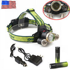 36000Lumens Headlamp 3x T6 LED Headlight Torch Lamp Flashlight+Charger+Battery#