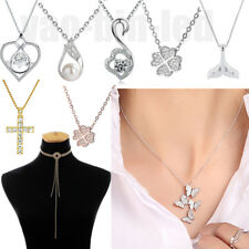 Fashion Women Girls 925 Silver Plated Pendant Chain Necklace Bib Charm Jewelry